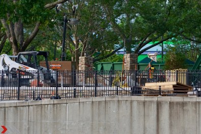 Work continues to build a tiered viewing area at Central Park.