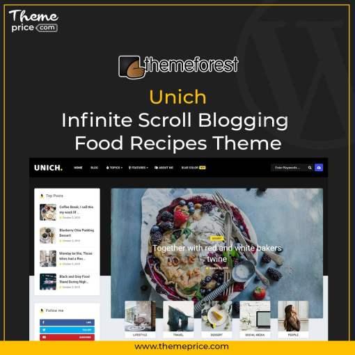 Unich – Infinite Scroll Blogging Food Recipes Theme
