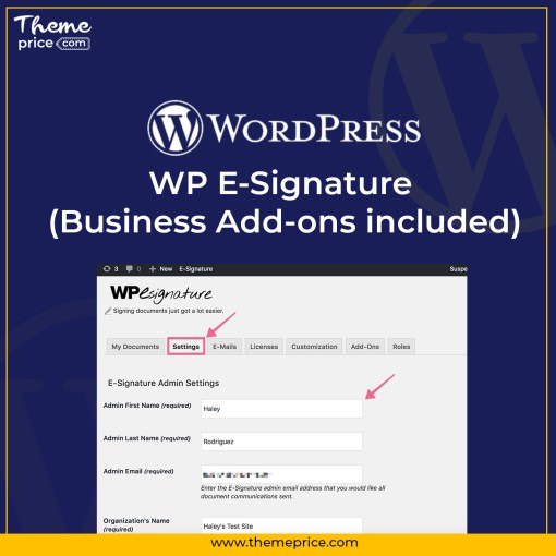 WP E-Signature (Business Add-ons included)