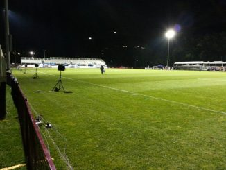 Pitch level at the Wanderer's Grounds at night.