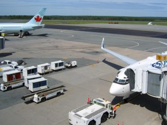 Stock photo. Airplanes in gate at Halifax's airport.