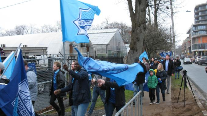 Supporters march to the Wanderers home opener.