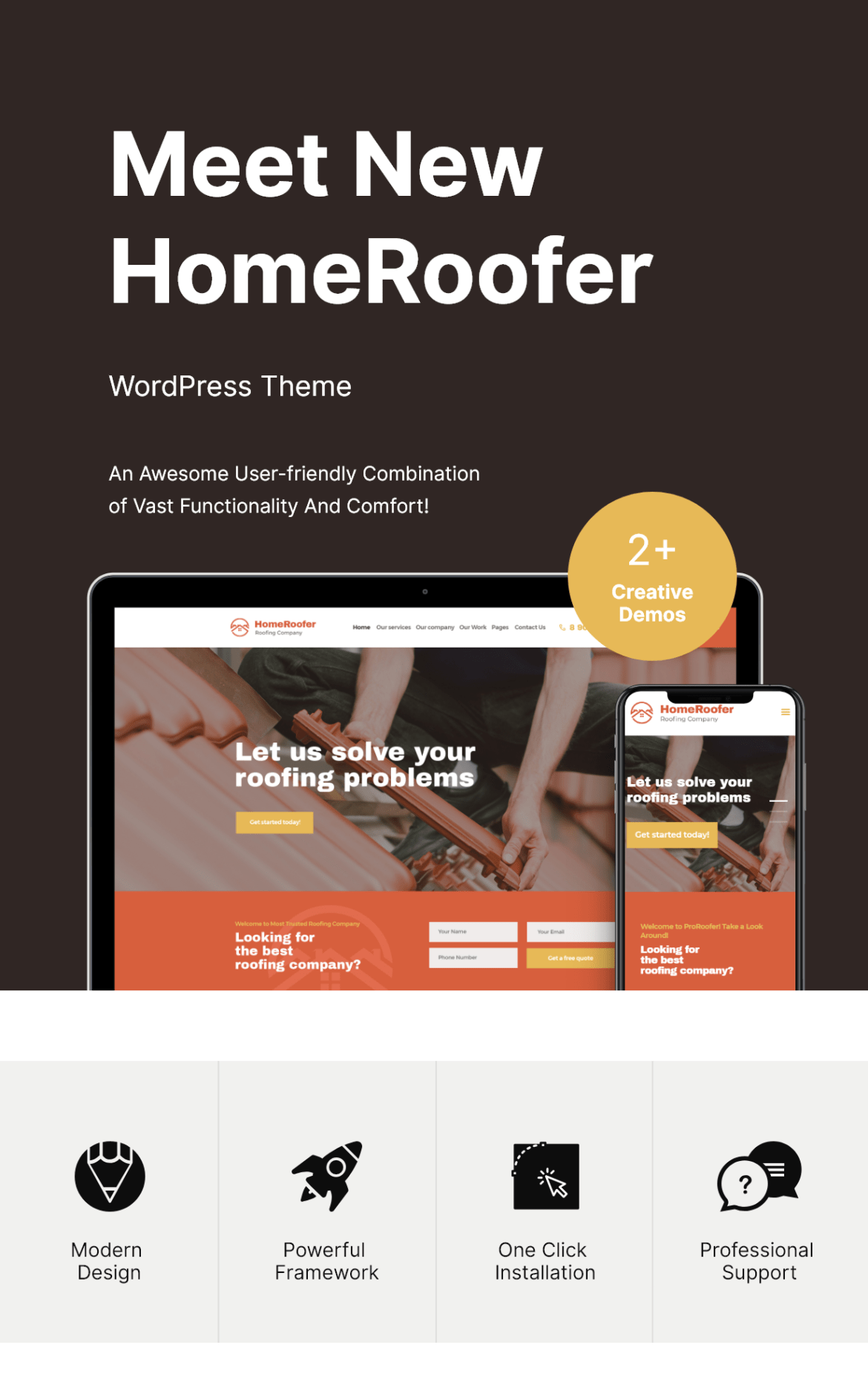 Roofing Company Services & Construction WordPress Theme Features
