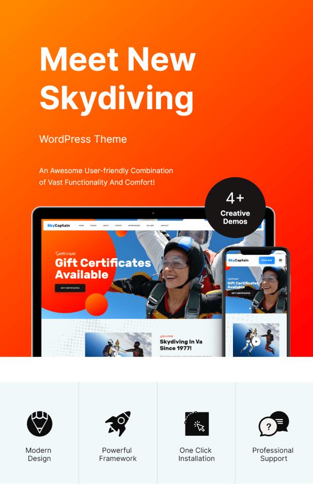 SkyCaptain   Skydiving & Extreme Flying Sports WordPress Theme - 1