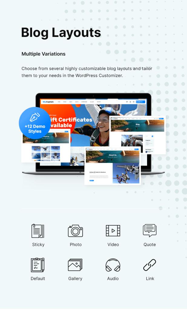 SkyCaptain   Skydiving & Extreme Flying Sports WordPress Theme - 6