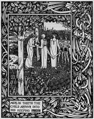 Merlino e Artù bambino - Aubrey Beardsley 1893-1894