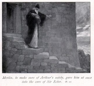 Merlino e Artù bambino - W. H. Margetson 1914