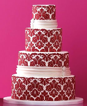 Red damask wedding cake