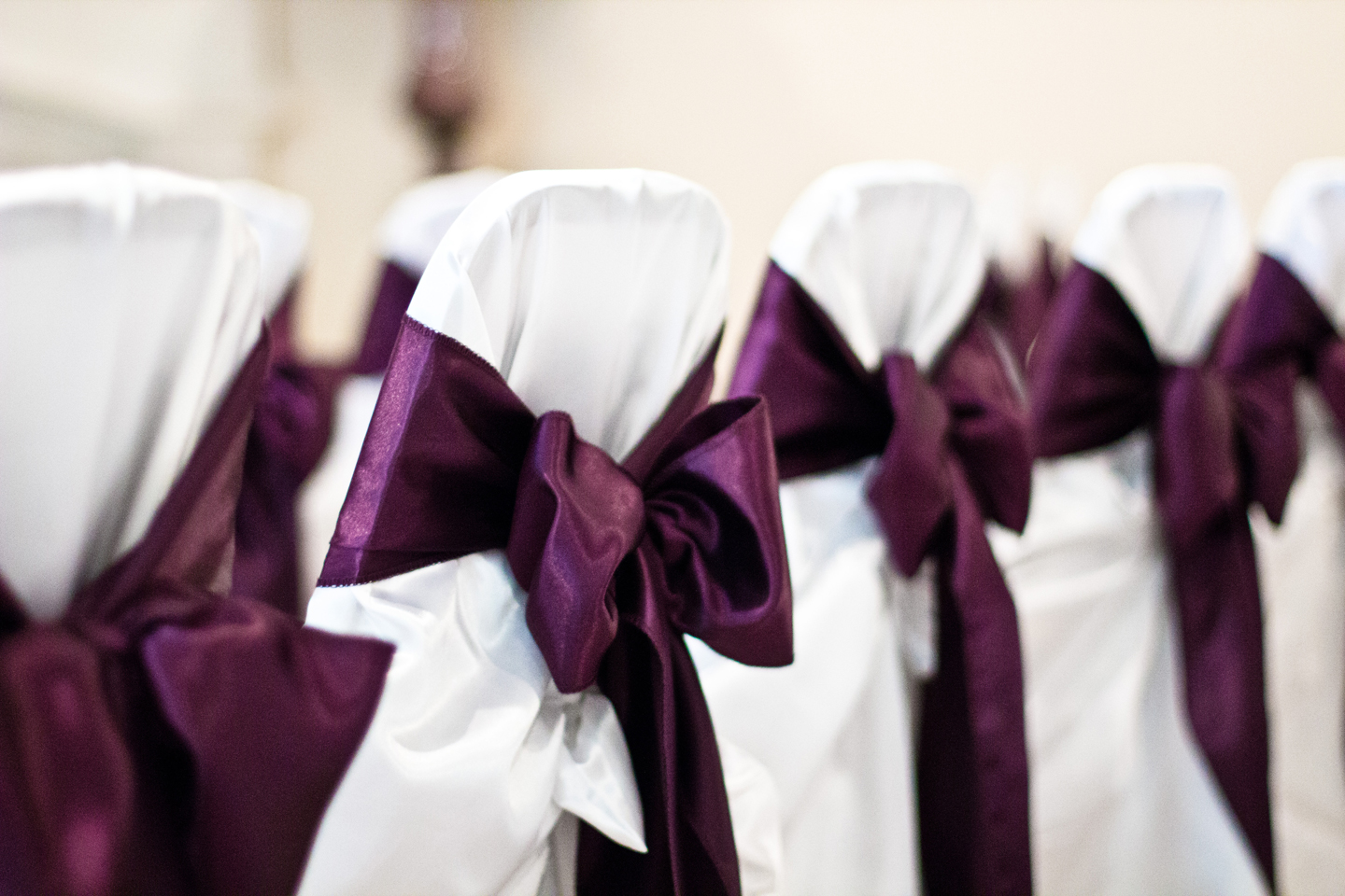 purple chair sashes for weddings stackable chairs ikea eggplant and light grey wedding inspiration the