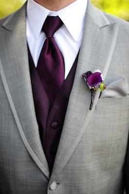 Eggplantpurple and light grey wedding inspiration  The
