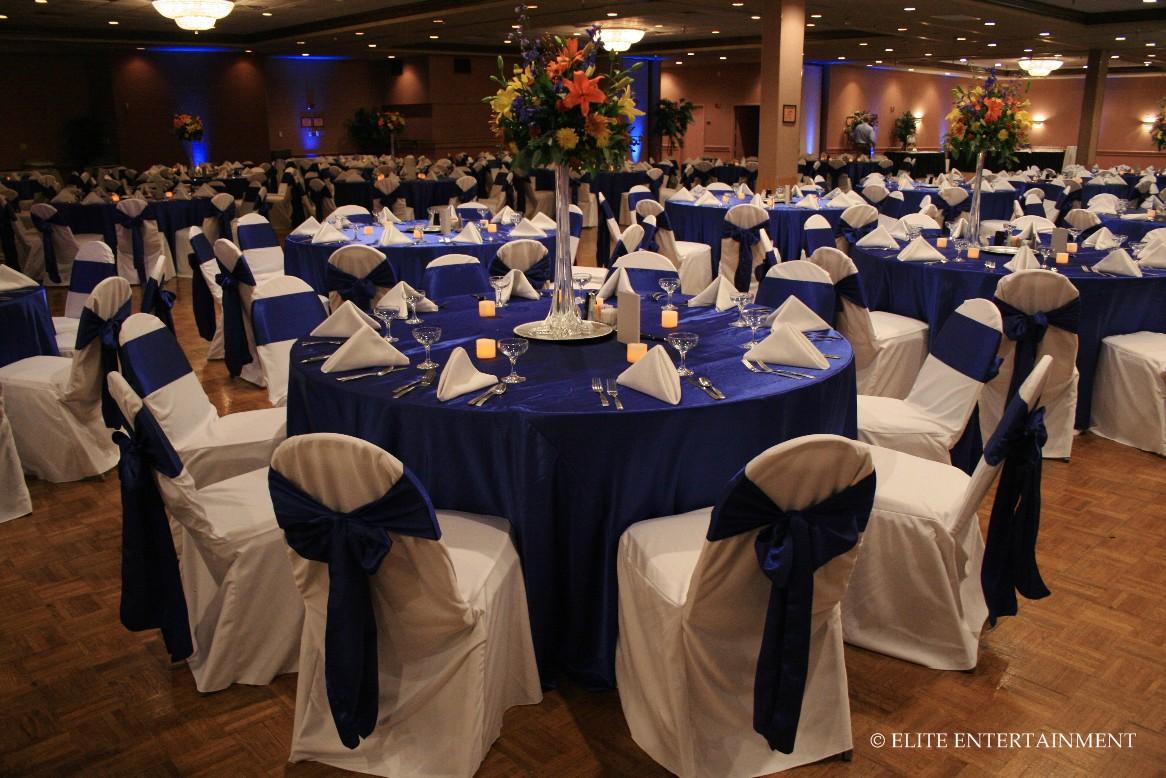 Wedding reception in royal blue  The Merry Bride