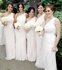 Ashley Heberts bridesmaids wore Grecian-style light pink ...