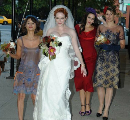 Christina Hendricks' bridesmaids wore different vintage dresses