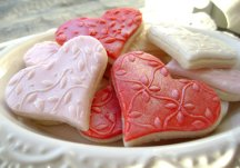 Embossed heart sugar cookies, by pfconfections on etsy.com