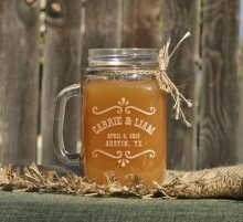 Etched mason jar glasses, by ScissorMill on etsy.com