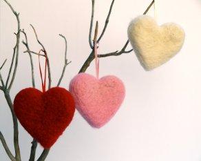 Felt hearts, by Fairyfolk on etsy.com