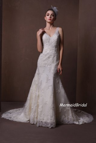 Lace wedding dress - US$369, by MermaidBridal on etsy.com
