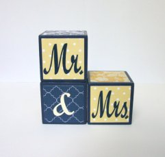Mr and Mrs blocks, by BugabooBlocks on etsy.com