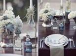 Vintage light blue and grey wedding reception