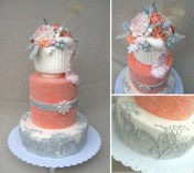 Wedding cake in coral and grey