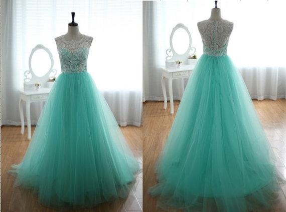 White Lace And Turquoise Tulle Wedding Dress, By Wonderxue