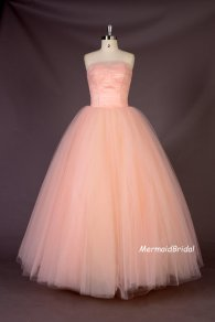 Blush-pink wedding dress, by MermaidBridal on etsy.com