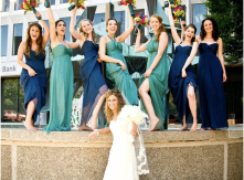 Bridesmaids in aqua and navy
