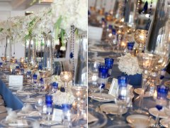 Cobalt blue and silver wedding reception