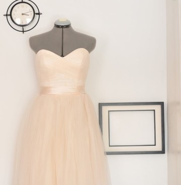 Peach tulle wedding dress, by TingBridal on etsy.com