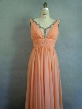 Peach wedding dress, by SararaVintage on etsy.com