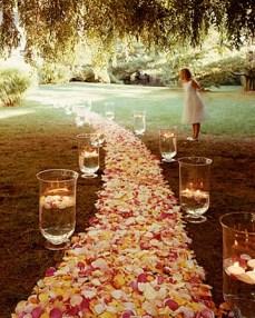 Petal and hurricane vase aisle