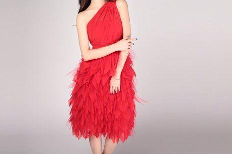 Feather-look bridesmaid dress, by wonderxue on etsy.com