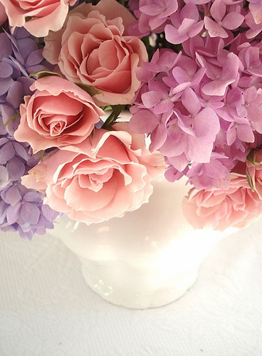 Purple hydrangeas with peach roses for centrepiece flowers