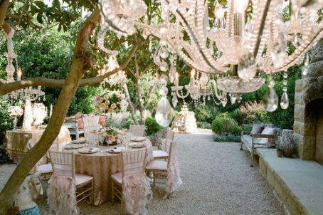Stunning outdoor reception in blush and ivory