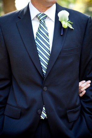 Navy suit and striped tie