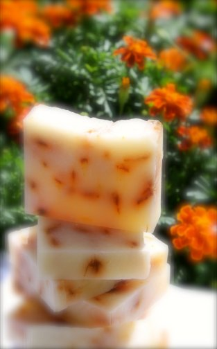 Marigold natural handcrafted soaps (wedding favour idea), by DucksCottage on etsy.com
