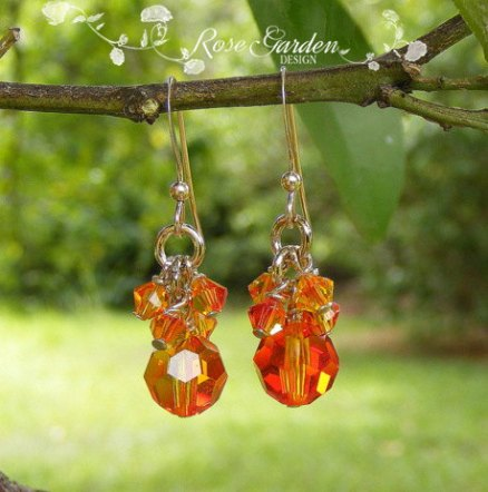 Swarovski crystal earrings, by RoseGardenDesign on etsy.com