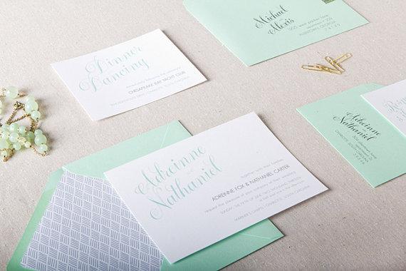 Wedding invitation set, by ChelseyEmery on etsy.com