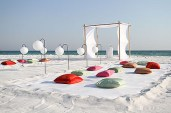 Cushion seating at a beach ceremony {via weddingbee.com}