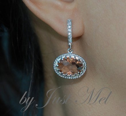 Peach bridal earrings, by justmel on etsy.com