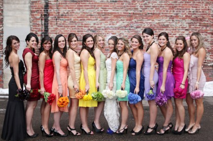 Rainbow bridesmaids {via bridalmusings.com}