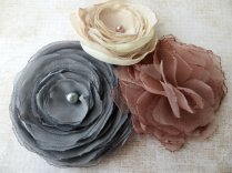 Fabric flowers, by RainwaterStudios on etsy.com