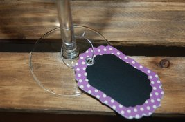 Chalkboard wine glass charms, by HappilyHandmadeDecor on etsy.com