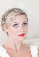 Pearl-embellished birdcage veil, by PowderBlueBijoux on etsy.com