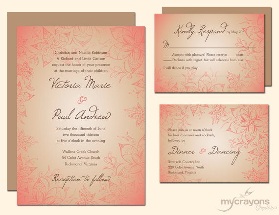 Wedding invitation, by MyCrayonsPapeterie on etsy.com