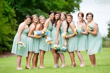 Bridesmaids in seafoam green {via glamourandgraceblog.com}