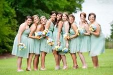 Bridesmaids in seafoam green {via glamourandgraceblog.com}