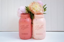 Painted mason jars as centrepieces, by BloomShoppe on etsy.com