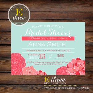 Bridal shower invitation, by EThreeDesignStudio on etsy.com