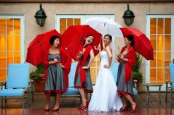 Bridesmaids in red and grey {via a-brides-best-friend.com}